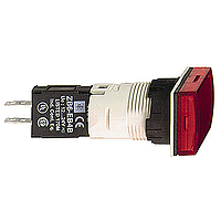 Piloto luminoso rectangular Ø 16- IP65 - rojo - LED integral - 24 V - conector - XB6DV4BB
